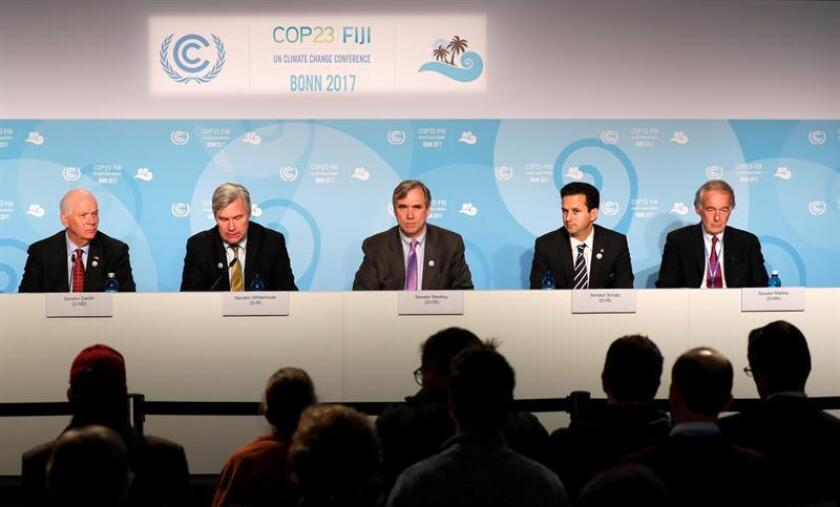 (L-R) US Senator from Maryland, USA, Benjamin Louis Cardin, US Senator from Rhode Island, USA, Sheldon Whitehouse, US Senator from Oregon, USA, Jeff Merkley, US Senator from Hawaii, USA, Brian Emanuel Schatz, US Senator from Massachusetts, USA, Ed Markey at a press conference during the UN Climate Change Conference COP23 in Bonn, Germany, 11 November 2017. EFE