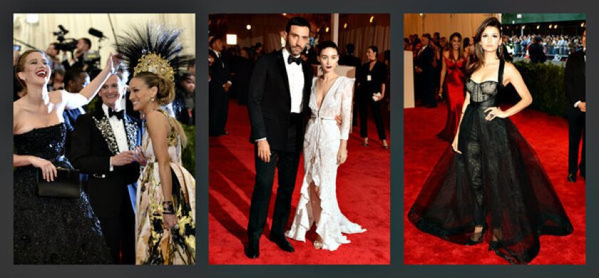 Samples of the dramatic looks at the Metropolitan Museum of Art's Costume Institute Gala on Monday, from left: Jennifer Lawrence and Sarah Jessica Parker; Riccardo Tisci and Rooney Mara; and Nina Dobrev.