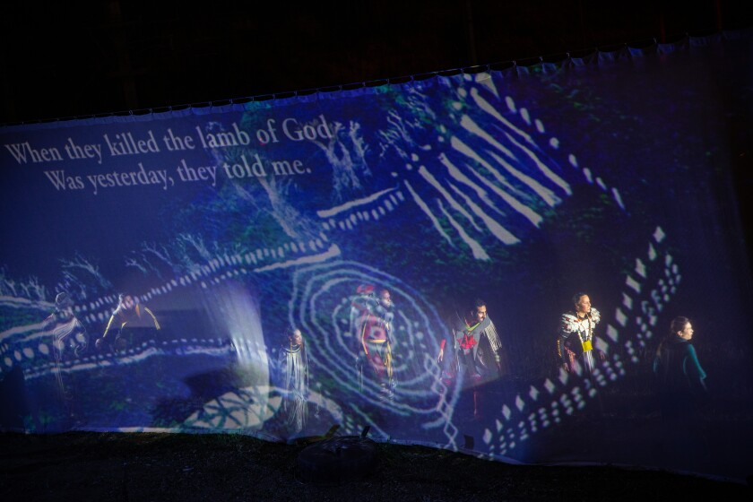 "An early sequence from ""Sweet Land"" features Tongva patterns projected on a scrim."