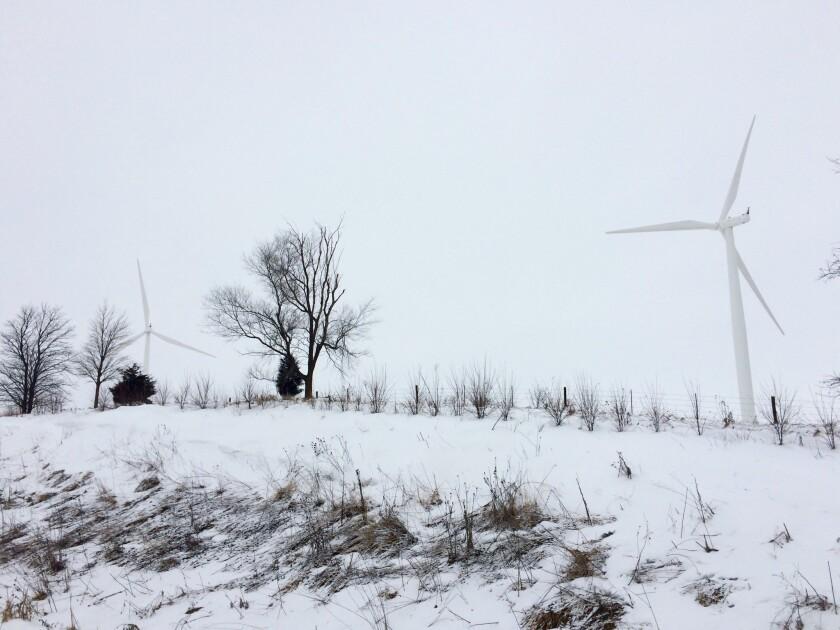 Wind turbines outside Adair, Iowa.