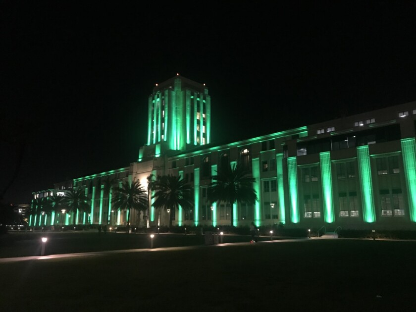 """San Diego's County Administration Building went """"green"""" on March 17 to honor St. Patrick's Day and the local Irish community."""