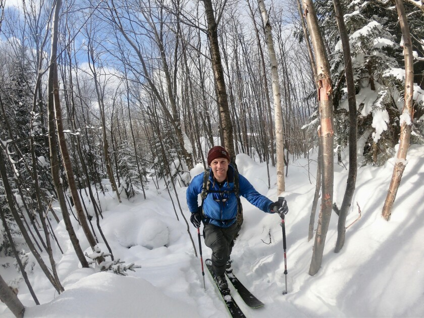 Retired two-time Olympic medalist Andrew Weibrecht poses for a selfie while backcountry skiing Feb. 10 in the Sentinel Range of the Adirondacks on Feb. 10, 2021, just outside Lake Placid, N.Y., in an effort to raise money for the Make-A-Wish Foundation. (Andrew Weibrecht via AP