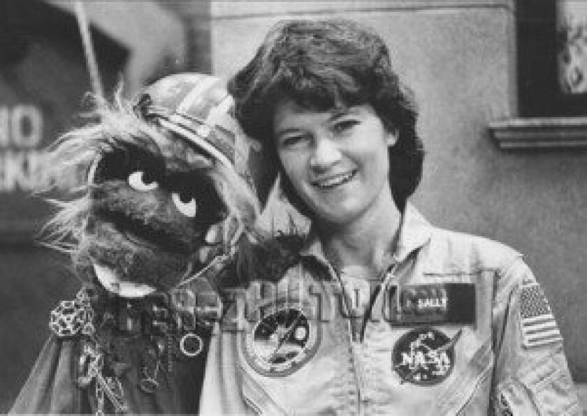 Astronaut Sally Ride appearing on an episode of 'The Muppet Show' in the '80s.