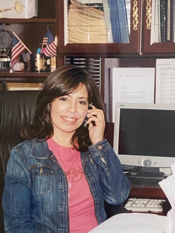 Nora Sandigo at her office in 1990.