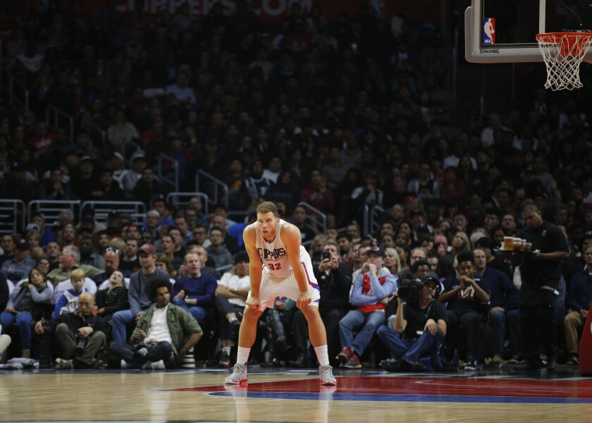 Clippers forward Blake Griffin looks on during a game against the Oklahoma City Thunder on Dec. 21.