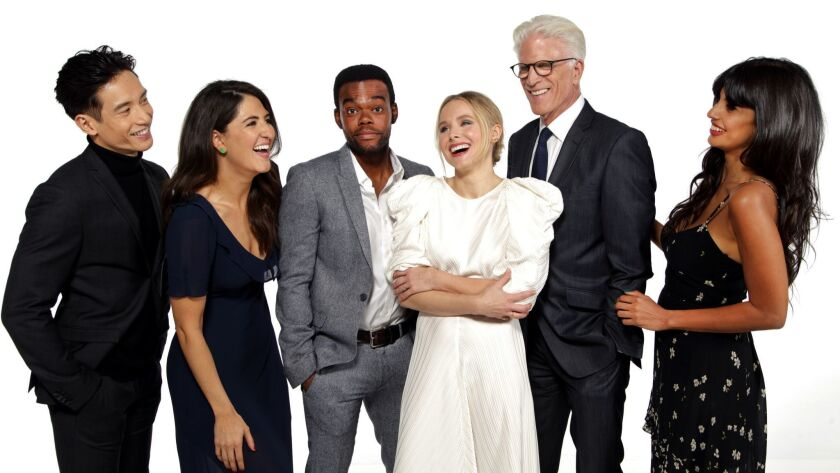 """The cast of """"The Good Place"""" from left to right: Manny Jacinto, D'Arcy Carden, William Jackson Harper, Kristen Bell, Ted Danson and Jameela Jamil."""