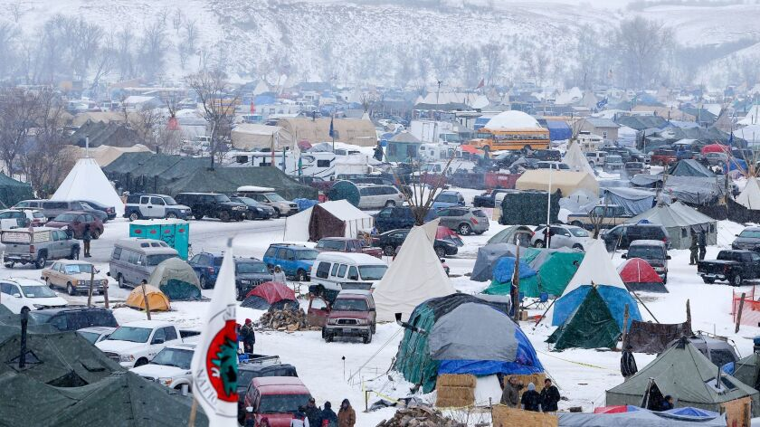 Protesters of the Dakota Access Pipeline near the Standing Rock Sioux Reservation on Dec. 5, 2016.
