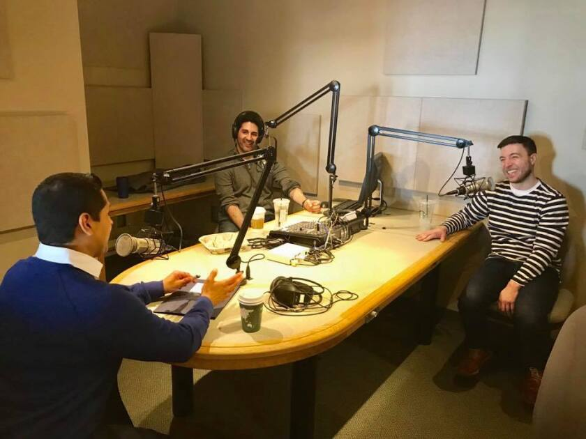 Liam Dillon (right) and co-host Matt Levin (left) interview California Assemblymember Miguel Santiago, who represents downtown L.A. and surrounding neighborhoods.