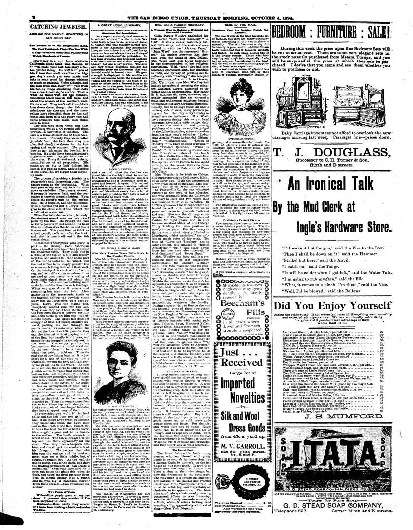 October 4, 1894 San Diego Union page with astronomy article by Mary Proctor.