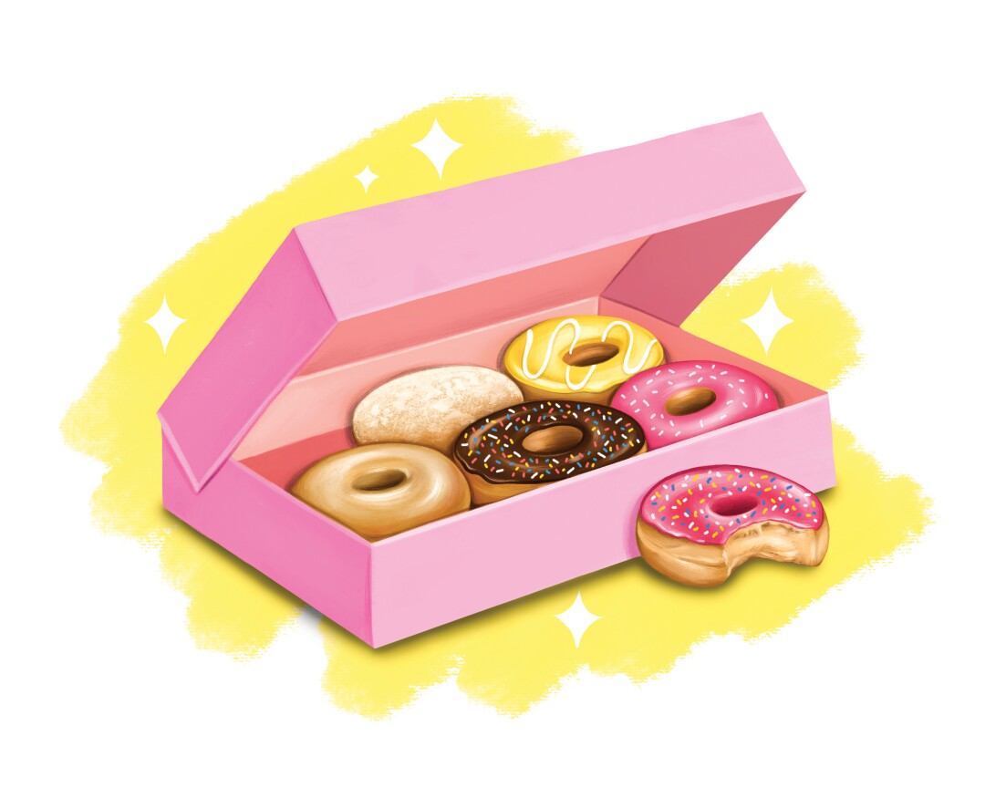 An illustration of doughnuts in a pink box