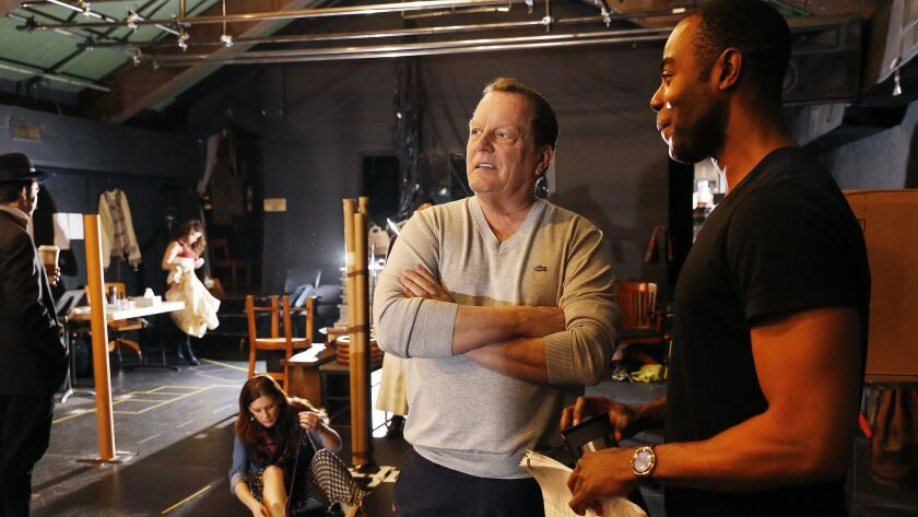 PASADENA, CA - JANUARY 29, 2019 - Director David Lee, left, working with actor Clifton Duncan, righ