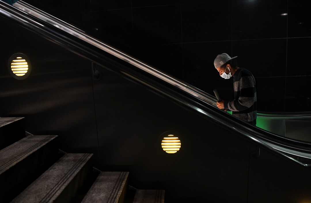 A man in a Metro tunnel in downtown Los Angeles.