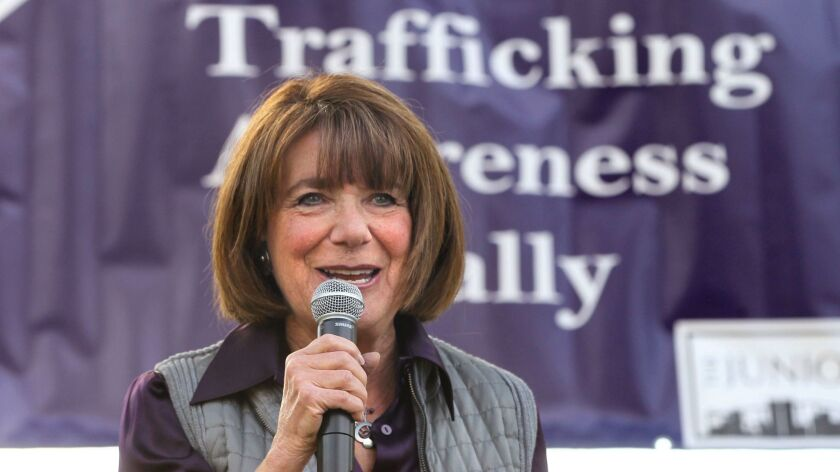 Rep. Susan Davis, D-San Diego, speaks at the Human Trafficking Awareness Rally in Balboa Park in 2016.