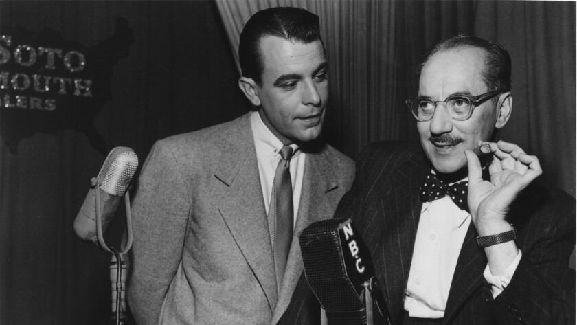 "Groucho Marx, right, and George Fenneman on ""You Bet Your Life."""