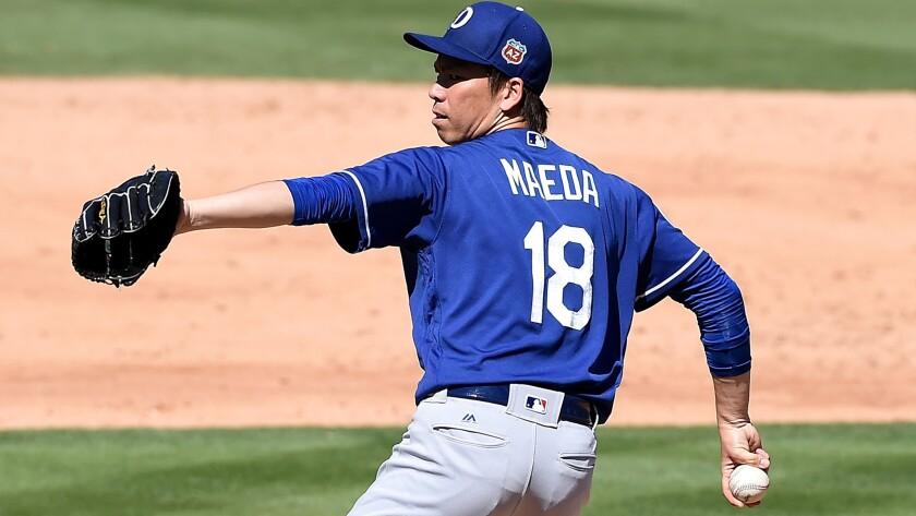 Dodgers starter Kenta Maeda made his spring debut Thursday against the Athletics.