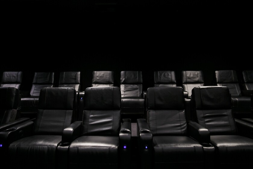 Comfortable and state-of-the-art leather chairs from the new multi-million dollar renovation of Universal CityWalk AMC theater, in Los Angeles, Calif., on Dec. 14, 2016.