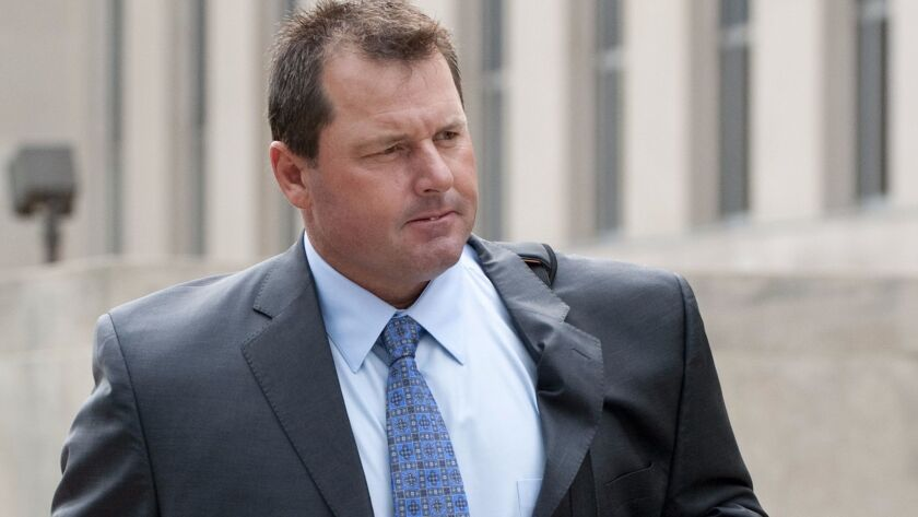 Former New York Yankees pitcher Roger Clemens arrives for a federal court hearing in Washington on Sept. 2, 2011.