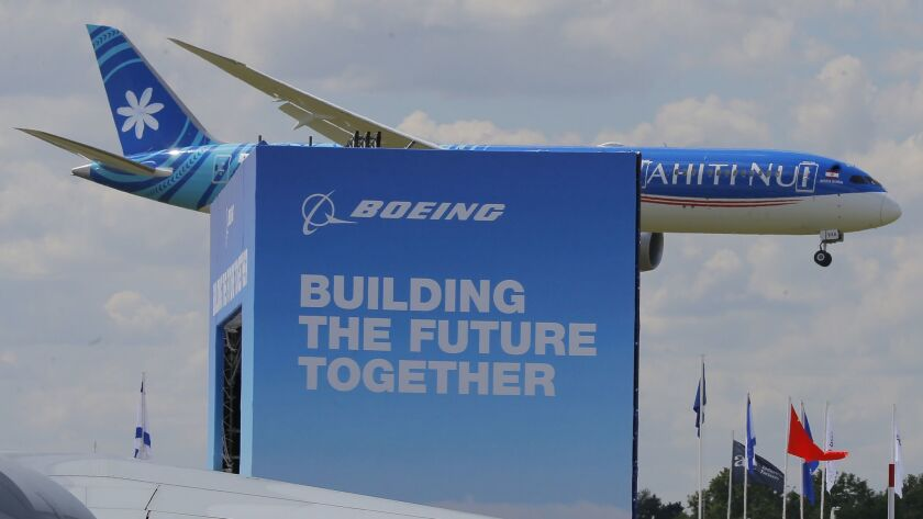 Boeing 787-9 Dreamliner performs his demonstration flight at Paris Air Show, in Le Bourget, east of