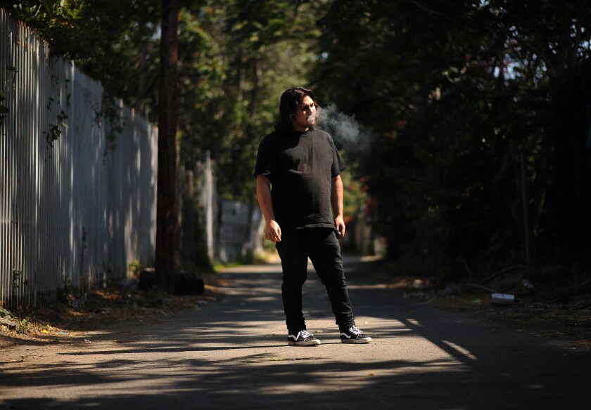 Alex Pedorro of the band Psyk Ward is photographed in Watts.