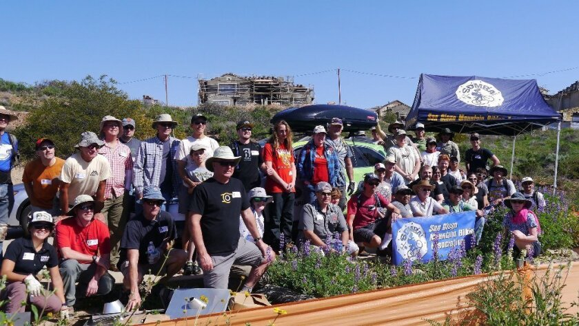 A large working group from San Diego Mountain Bike Association gathered to work on a new Del Mar Mesa trail connection. Courtesy photo