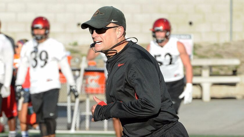 San Diego State defensive coordinator Danny Gonzales has coached with the Aztecs for the past seven seasons.
