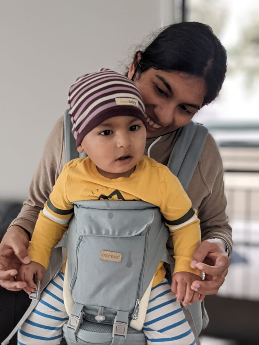 Swati Tyagi, 34, pictured with her son, Miransh, was a postdoctoral researcher at the Salk Institute for Biological Studies.