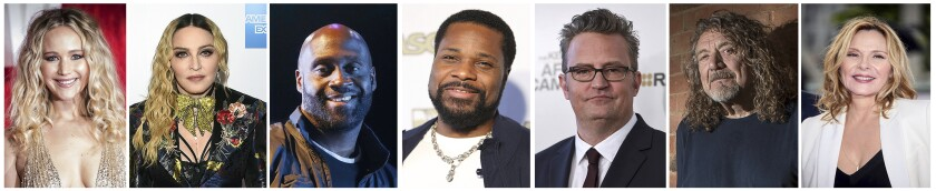 This combination photo of celebrities with birthdays from Aug. 15-21 shows Jennifer Lawrence, from left, Madonna, Kelvin Mercer, Malcolm-Jamal Warner, Matthew Perry, Robert Plant and Kim Cattrall. (AP Photo)