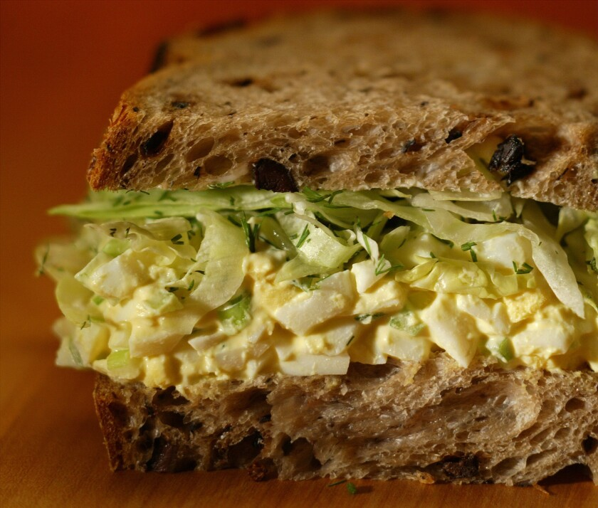 A perfect make-ahead sandwich. Recipe: Egg salad sandwich with dill