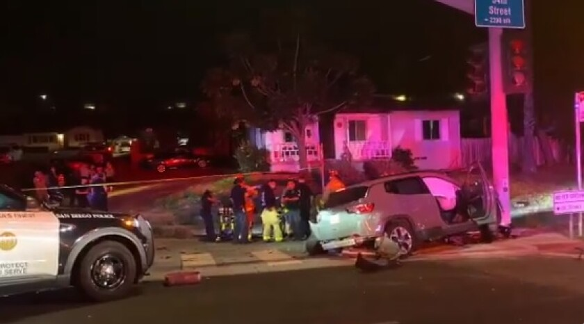 A stolen Jeep crashed into a traffic pole Monday night in Oak Park. Police say the driver, 16, became trapped under the SUV.
