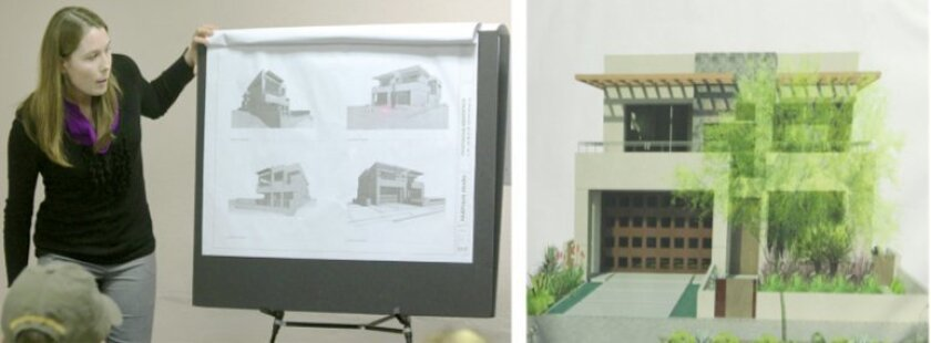 Drafter/designer Hilary Lowe presents plans for a proposed home rebuild at 8374 Paseo del Ocaso in La Jolla Shores.  Pat Sherman