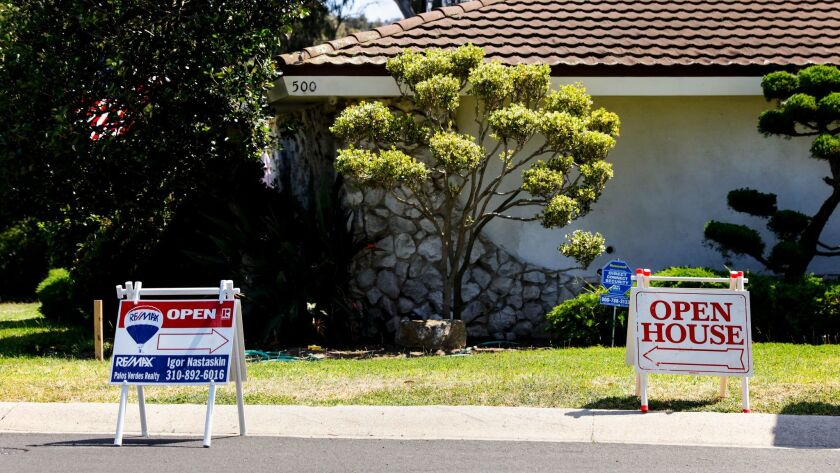TORRANCE, CA--MAY 08, 2016-- Signs for open houses in the Hollywood Riviera neighborhood of Torrance