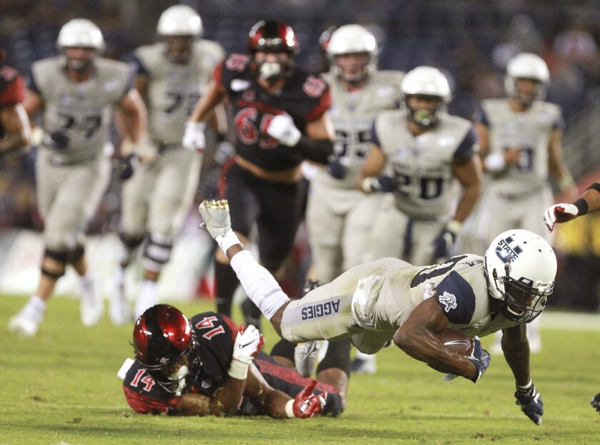 The Aztecs eclipsed its average for penalties and penalty yards in the first half during a 23-17 loss to Utah State on Saturday at SDCCU Stadium.