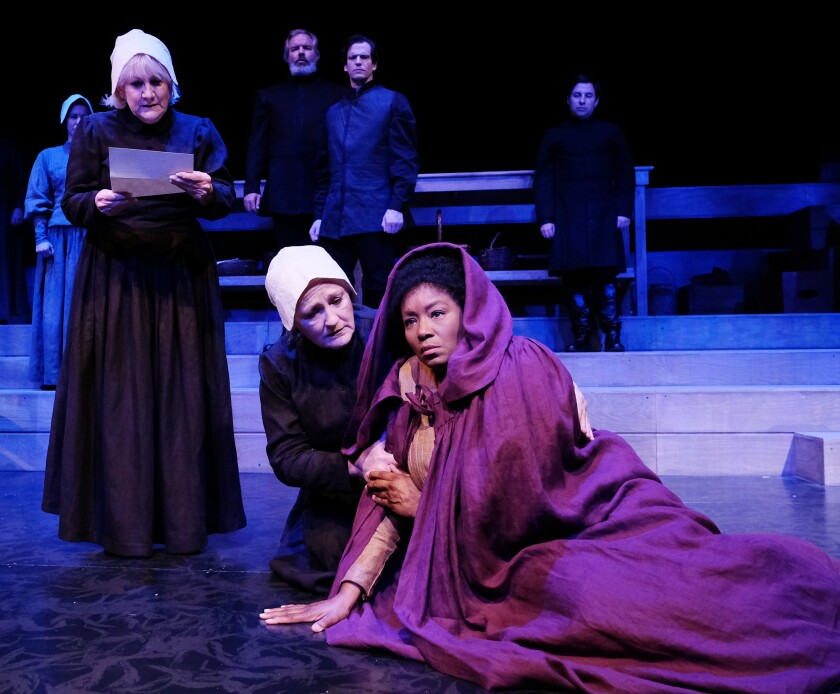 """Kerry Meads, Deborah Gilmour Smyth and Yolanda Marie Franklin (from left) in Lamb's Players Theatre's """"Babette's Feast."""""""