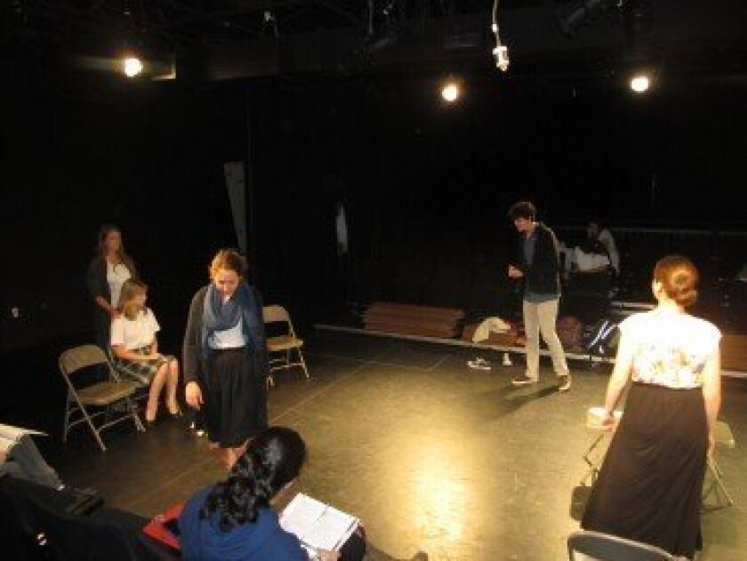 "Members of ""The Children's Hour"" cast in rehearsal. Photo/Susan Farese"