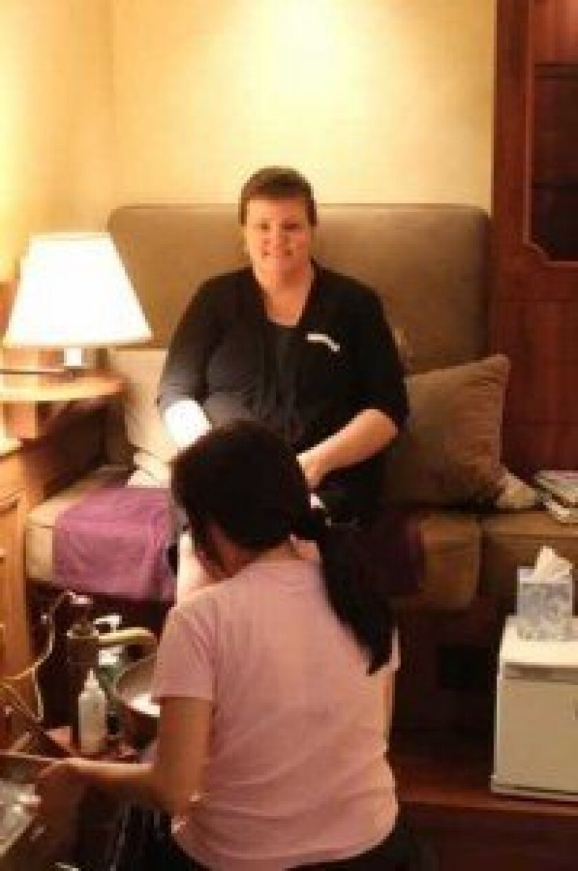Rebecca Reed, who has been in remission for seven months, gets a pedicure.