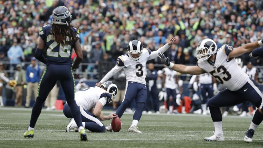 SEATTLE, WA - OCTOBER 7, 2018: Los Angeles Rams kicker Cairo Santos (3) kicks a 39-yard field goal