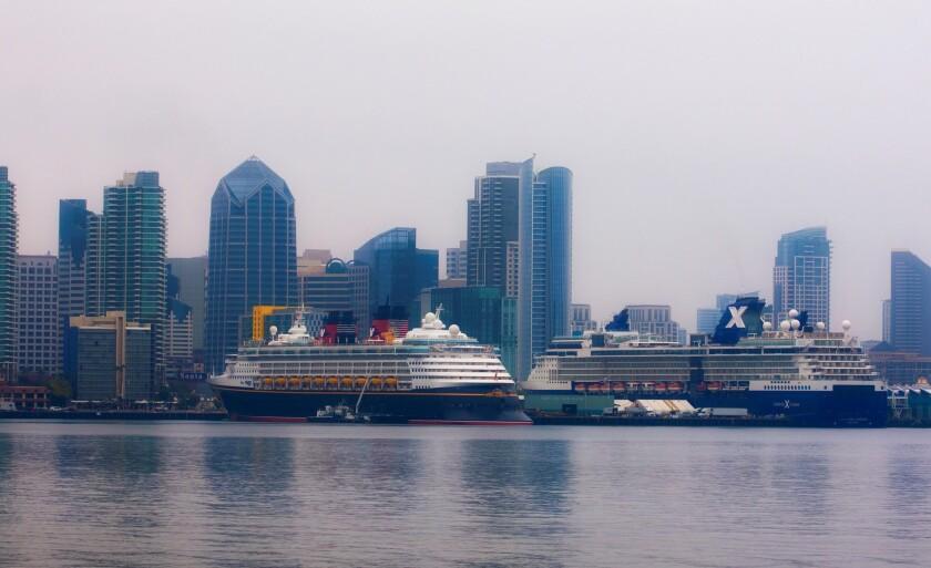 The cruise ships Disney Wonder and Celebrity Millennium