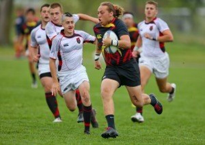 Mustangs U19 Rugby captain Drew Gaffney, here running in a match against Marin (CA), helped lead the Carmel Valley-based team to a 2-1 record at the Boys High School National Invitational Championship in Elkhart Indiana, May 16-18. Photo/Susie Talman