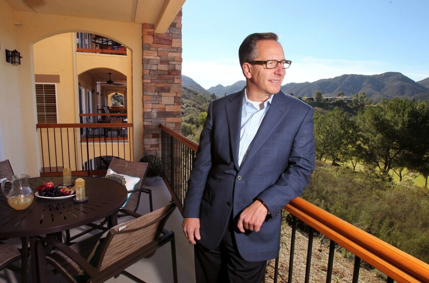 Jon Fredricks, president of Welk Resorts, on the terrace of a new villa at the timeshare resort in rural Escondido.