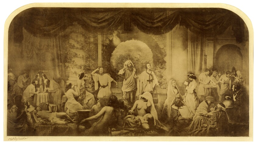 "Oscar G. Rejlander's ""Two Ways of Life (Hope in Repentance),"" 1857, albumen silver print."
