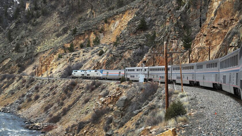 GLENWOOD SPRINGS, CO - MARCH 24: Amtrak's California Zephyr rolls along the rails during its daily