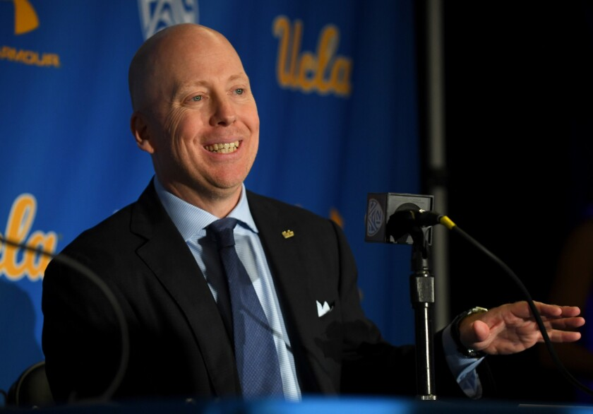 UCLA coach Mick Cronin speaks to reporters during his introductory news conference on April 10.