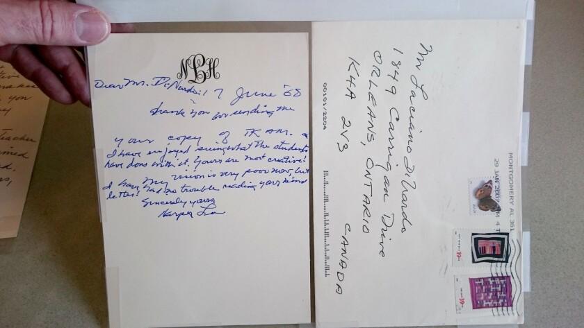 Harper Lee's letter in 2008 to Ottawa teacher Luciano DiNardo