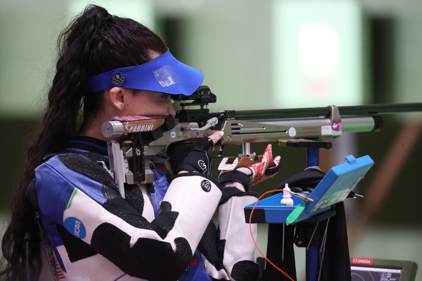 U.S. shooter Mary Tucker competes during 10-meter air rifle qualification at the Tokyo Olympics on July 24.