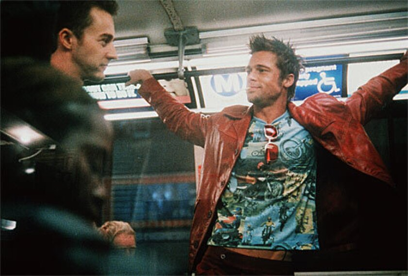 "Edward Norton, left, and Brad Pitt in ""Fight Club."""