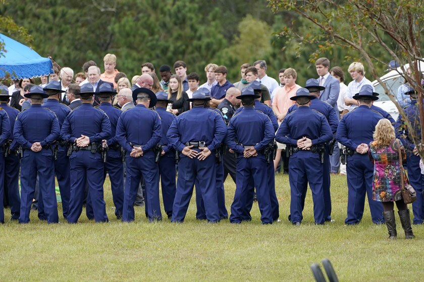 Louisiana state troopers attend funeral services for Master Trooper Chris Hollingsworth in West Monroe, La., on Friday.
