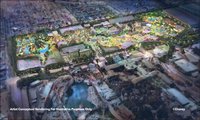 """This """"Westside"""" rendering shows what additions could be made around the resort's hotels. (Disney)"""