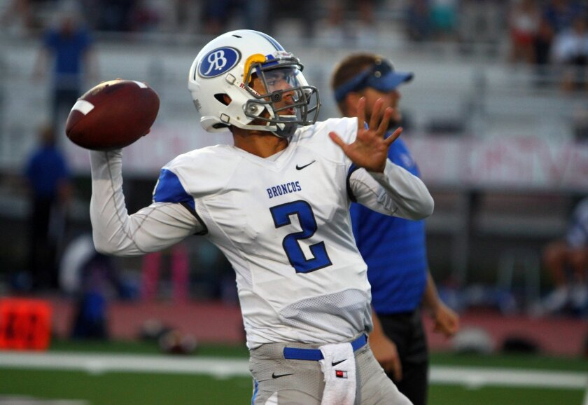 Rancho Bernardo quarterback Mark Salazar threw for 186 yards and two touchdowns in the Broncos' state championship win.