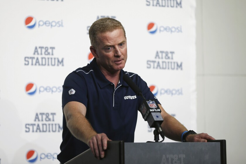 FILE - In this Dec. 15, 2019, file photo, then-Dallas Cowboys head coach Jason Garrett takes part in a news conference following an NFL football game against the Washington Redskins in Arlington, Texas. Jason Garrett wasn't interested in sitting around for a year after the Dallas Cowboys didn't renew his contract as their head coach. So when the New York Giants and new head coach Joe Judge called to ask him about becoming the offensive coordinator, he jumped at the opportunity. Speaking to the media Tuesday for the first time since he was hired, Garrett refused to discuss his final days in Dallas, where he was the head coach for a decade. (AP Photo/Ron Jenkins, File)