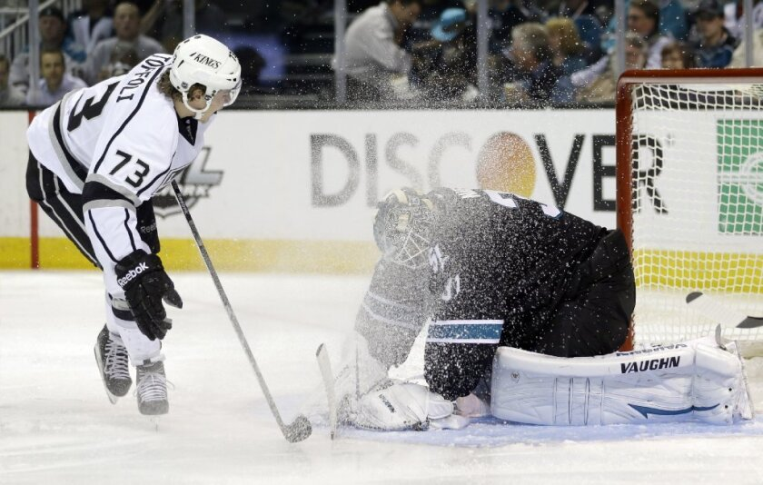 San Jose Sharks goalie Antti Niemi stops a shot from Tyler Toffoli during a second-round playoff series.